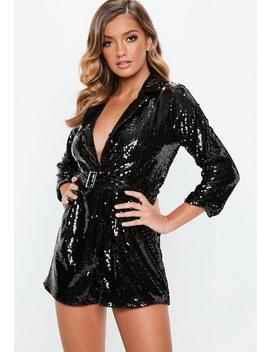 Black Sequin Blazer Playsuit by Missguided