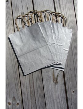 """50 Metallic Silver Gift Bags With Handles/8""""X4""""X10""""/Wedding Welcome Bags/Silver Kraft Bags by Etsy"""