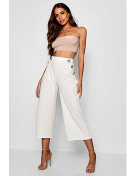 Tall Horn Button Detail Crepe Culottes by Boohoo