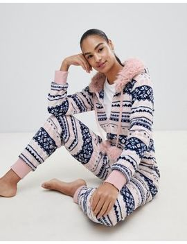 Hunkemoller Fairisle Onesie Fleece In Blue by Hunkemöller