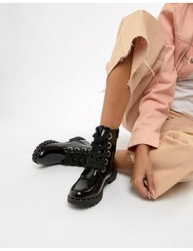 Qupid Lace Up Chunky Ankle Boots by Asos Brand