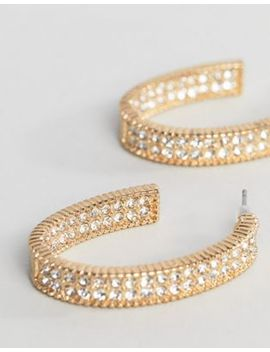Liars & Lovers Rhinestone Oval Hoop Earrings by Liars & Lovers