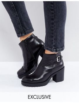 Vagabond Grace Buckle Detail Black Chunky Leather Ankle Boots by Vagabond