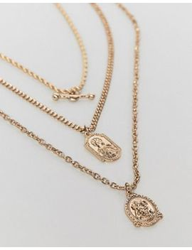 Asos Design Vintage Style Multi Chain Necklace With St Christopher Pendants In Gold Tone by Asos Design