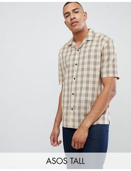 Asos Design Tall Oversized Boxy Check Shirt In Brown With Revere Collar by Asos Design