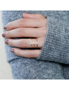 Sideway Initial Ring • Sterling Silver Ring • Stacking Ring • Custom Name Ring • Personalized Gift • Mother Gift • Christmas Gifts • Rm09 F39 by Etsy