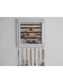 Preorder Distressed White Jewelry Organizer   Hanging Earring Organization   Jewelry Holder Frame   Hanging Display   Creatively Cluttered by Etsy