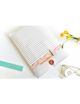 """Floral + Stripes 11.6 15.6"""" Laptop Sleeve Laptop Case 13"""" Computer Sleeve Pc Cover 13"""" Mac Book Air Sleeve, 13"""" Chromebook Case by Etsy"""