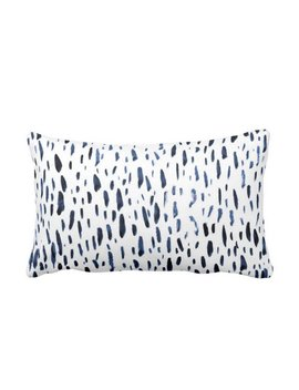 """Hand Painted Dashes Throw Pillow Or Cover, Navy/White 14 X 20"""" Lumbar Pillows Or Covers, Blue Dot/Dash/Abstract/Splatter Print by Etsy"""
