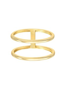 14k Gold Double Band Ring, 14k Solid Gold by Etsy