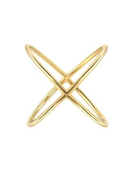 14k Gold X Ring, 14k Solid Gold Cross Ring by Etsy