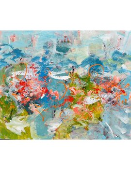 Large Abstract Painting Flower Painting Blossoms Teal Aqua Red Orange 30 X 36 Finding Neverland by Etsy