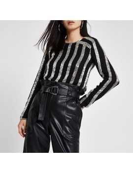 Black Sequin Stripe Long Sleeve Top by River Island