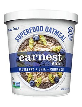 Earnest Eats Gluten Free Oatmeal With Superfood Grains, Quinoa, Oats And Amaranth    Superfood Blueberry Chia   (Case Of 12   Single Serve Cups), 2.35 Oz by Earnest Eats