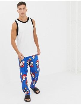 Asos Design Straight Leg Pyjama Bottoms In Super Mario Design by Asos Design