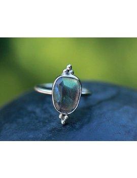 Labradorite Ring, Stacking Ring, Birthstone Ring, Northern Lights , Boho Ring , Blue , Gemstone Ring, Triple Dots, by Etsy