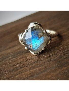 Natural Labradorite Ring, Real Sterling Silver Ring, Cocktail Ring, Alternative Engagement Ring, Avant Garde, Birthstone Ring, Labradorite by Etsy