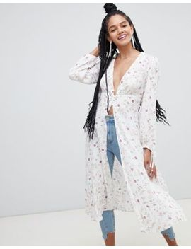 New Look Metallic Lace Floral Kimono by New Look