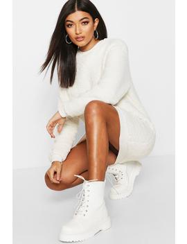 Oversized Borg Sweat Dress by Boohoo