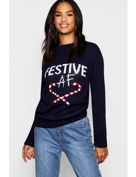 Tall 'Festive Af' Slogan Christmas Jumper by Boohoo