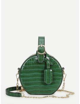 Croc Pattern Round Chain Bag by Romwe