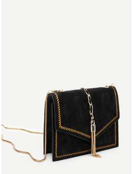 Tassel Detail Flap Chain Crossbody Bag by Romwe