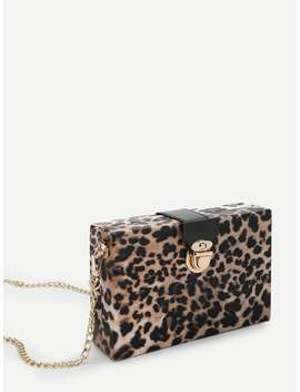 Leopard Pattern Chain Crossbody Bag by Romwe