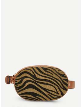 Zebra Pattern Zipper Bum Bag by Romwe