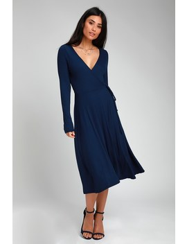 Keira Navy Blue Ribbed Long Sleeve Midi Wrap Dress by Lulus