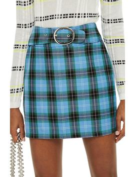 Circle Buckle Check Miniskirt by Topshop