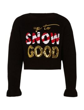 Girls Black 'Snow Good' Christmas Jumper by River Island