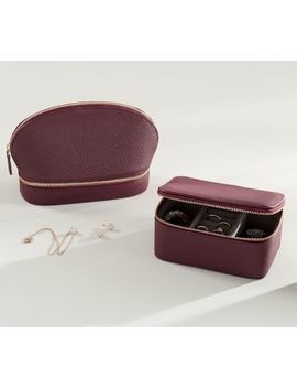 Personalized Reese Leather Travel Jewelry Collection   Merlot by Pottery Barn