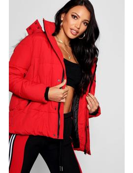 Faux Fur Technical Puffer Jacket by Boohoo