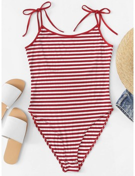 Scoop Neck Striped Cami Bodysuit by Romwe
