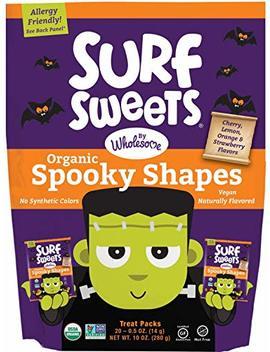 Surf Sweets Organic Fruit Snacks By Wholesome   Halloween Trick Or Treat Candy Bags, 20 0.5 Ounce Pouches With Spooky Shapes In Cherry, Lemon, Orange And Strawberry Flavors   Gluten Free, Non Gmo by Surf Sweets