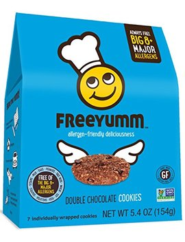Gluten Free Vegan Cookies, Free Yumm Double Chocolate Chip Cookies, Safe For School Allergen Free Snacks For Kids, 21 Total Cookies by Free Yumm