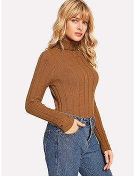 Turtle Neck Form Fitting Rib Sweater by Shein