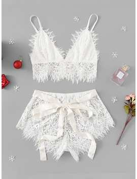 Christmas Ribbon Tie Eyelash Lace Lingerie Set by Romwe
