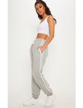 Grey Double Side Stripe Jogger by Prettylittlething