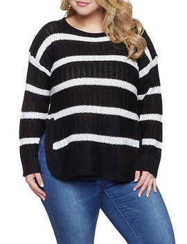Plus Size Striped Sweater by Rainbow