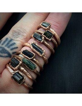 Green Tourmaline Ring | Electroformed Ring | Electroformed Tourmaline by Etsy