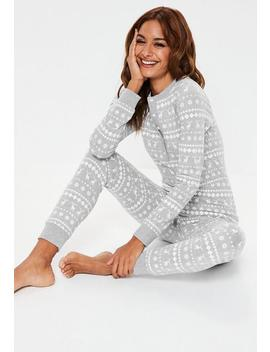 Grey Button Fairisle Jumpsuit by Missguided