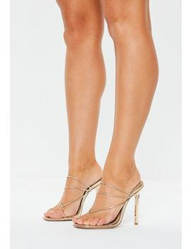 Gold Skinny Strap Toe Post Mules by Missguided