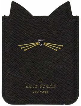 Kate Spade New York Embellished Cat Adhesive Phone Pocket, Black, One Size by Kate Spade New York