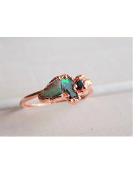 Triple Opal Ring   Fire Opal Ring   Raw Crystal Ring   Electroformed Ring   Opal Stone Ring   Boho Ring   Raw Stone Ring   Gifts For Her by Etsy
