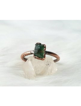 Size 9 Green Apatite Stacker Ring Electroformed Copper Crystal Ring by Etsy