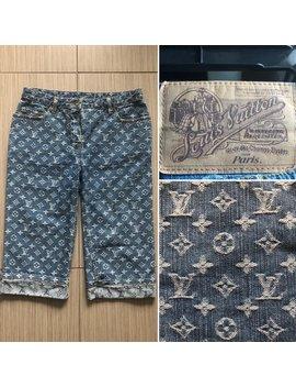 Louis Vuitton Authentic Lv Logos Iconic Rare Denim Blue Jean Bermuda Shorts by Etsy