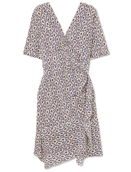 Arodie Wrap Effect Printed Silk Blend Crepe De Chine Dress by Isabel Marant