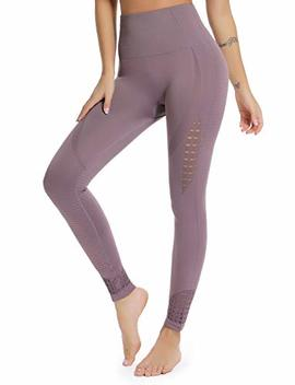 Women's High Waist Active Energy Leggings Slimming Seamless Compression Fit Pants Workout Tights Tummy Control by Seasum