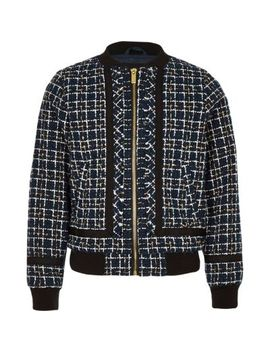 Navy Boucle Zip Front Bomber Jacket by River Island